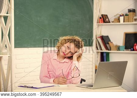 Intelligent Girl Student. Teachers Day. Woman Smart Educator Work Online. Educator Surfing Online. T