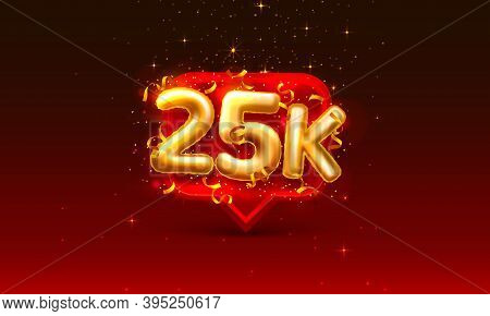 Thank You Followers Peoples, 25k Online Social Group, Happy Banner Celebrate, Vector