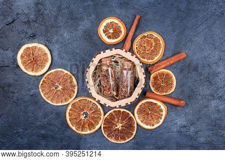 New Years Set For Mulled Wine In A Wood Box. Fragrant , Orange Peel, Cinnamon Sticks, Badyan.