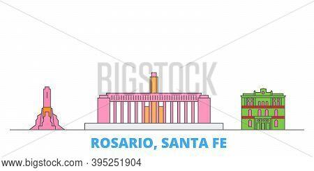Argentina, Rosario Line Cityscape, Flat Vector. Travel City Landmark, Oultine Illustration, Line Wor