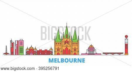 Australia, Melbourne Line Cityscape, Flat Vector. Travel City Landmark, Oultine Illustration, Line W