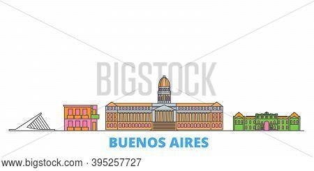 Argentina, Buenos Aires Line Cityscape, Flat Vector. Travel City Landmark, Oultine Illustration, Lin