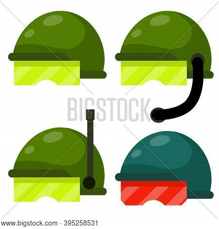 Helmet Of A Soldier Of Special Purpose. Swat Uniforms And Protective Clothing. Flat Cartoon