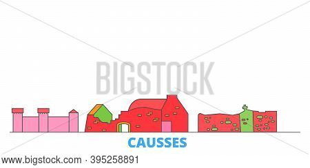 France, Causses Line Cityscape, Flat Vector. Travel City Landmark, Oultine Illustration, Line World