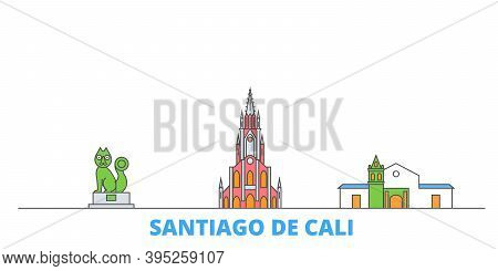 Colombia, Santiago De Cali Line Cityscape, Flat Vector. Travel City Landmark, Oultine Illustration,