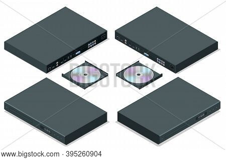 Isometric Blue-ray Player With A Disk, Isolated. Dvd Player Ejecting Disc With Remote Control Isolat