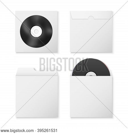Vector 3d Realistic Black Blank Cd, Dvd And Paper Closed And Opened Envelope With Window, Cover Set