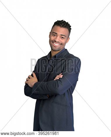 Handsome african-american guy wearing black suit standing on white background, isolated