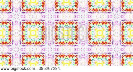 Folk Tribal Seamless Pattern. Multi Colorful Rapport. Abstract Handmade Geometric Ethnic Illustratio