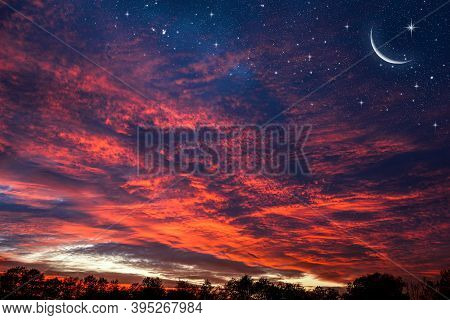 Ramadan Background With A Crescent And Sunset Sky . Beautiful Dawn In The Morning