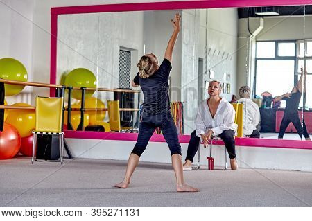 Dance Men In The Gym Under The Supervision Of A Teacher. Sports Lifestyle.