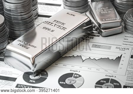 Silver bar, ingots and coins on financial  report. Growth of silver on stock market concept. 3d illustration