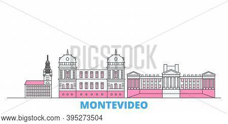Uruguay , Montevideo Line Cityscape, Flat Vector. Travel City Landmark, Oultine Illustration, Line W