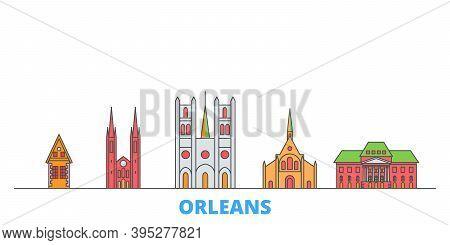 France, Orleans Line Cityscape, Flat Vector. Travel City Landmark, Oultine Illustration, Line World