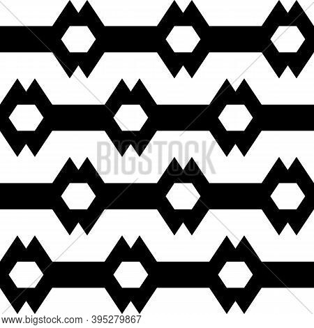 Seamless Vector. Hexagons, Zigzag Lines Background. Folk Ornament. Polygons, Jagged Stripes Pattern.