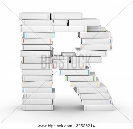Letter R, stacked from blank books