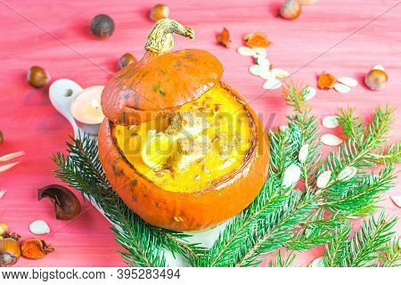Delicious Soup Of Ripe Pumpkin, Vegetable Diet
