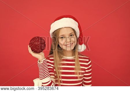 Shine And Glitter. Child Santa Claus Costume Hat. Happy Smiling Face. Beautiful Detail. Positivity C
