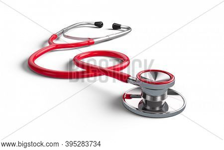 Red Stethoscope isolated on white - 3d rendering