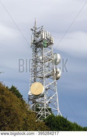 Lastres, Asturias / Spain - 6 November 2020: View Of The Television Antenna In Lastres In Asturias