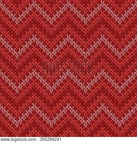 Fairisle Chevron Stripes Knitting Texture Geometric Seamless Pattern. Scarf Hosiery Textile Print. S