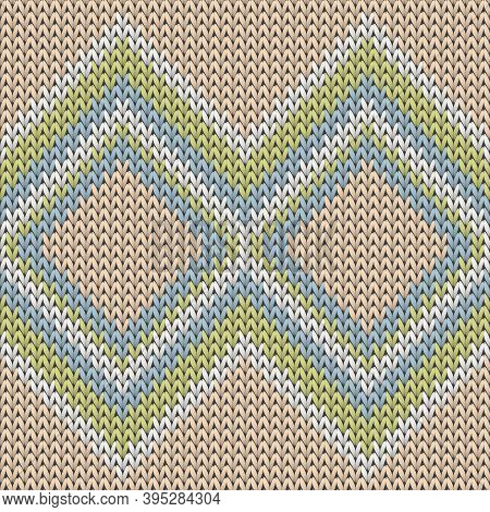 Cool Rhombus Argyle Knitted Texture Geometric Vector Seamless. Jacquard Knitwear Structure Imitation