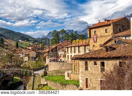Potes, Cantabria / Spain - 5 November 2020: Idyllic Spanish Mountain Village In The Picos De Europa