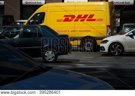 Bucharest, Romania - September 07, 2020 An Yellow Dhl Delivery Van Is Seen On A Street In Bucharest.