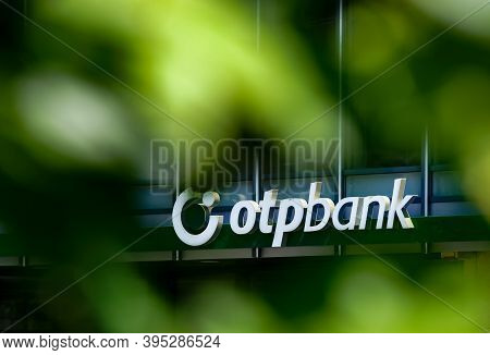 Bucharest, Romania -  June 28, 2020: A Logo Of The Hungarian Bank Branch Otp Bank, Is Displayed Abov
