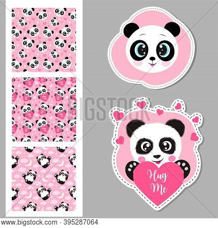 Vector Set Of Cute Panda And Seamless Patterns. Printing On T-shirts, Bags And Other Fashion Items.
