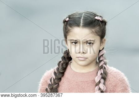 Look. Girl With Braided Hair Style Pink Kanekalon. Hairdresser Salon. Braided Cutie. Little Girl Wit
