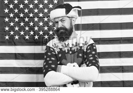 Brutal Man Wear Knitted Sweater. American Tradition. Bearded Hipster American Flag Background. Xmas