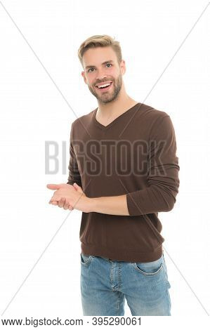 Happy Young Man With Bristle On Unshaven Face Wear Casual Clothing Isolated On White Background, Mal
