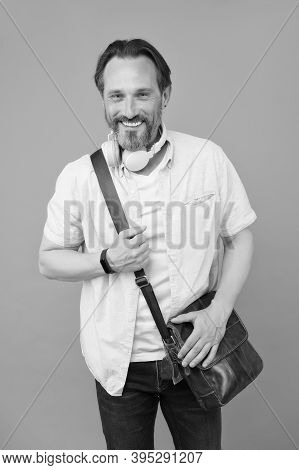 In His Personal Style. Stylish Man Smile Grey Background. Mature Man In Casual Style. Everyday Wardr