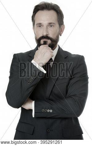 Hard Decision. Businessman Classic Formal Clothing Touching Chin While Making Decision. Business Beh