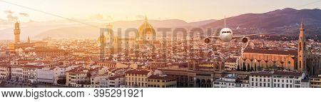 Front Of Real Plane Aircraft, On Florence Cityscape In Sunrise At Florence, Italy Background