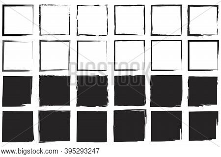Black Squares By Hand. Black Frame. Art Black Ink Abstract Brush Stroke Paint Background. Stock Imag