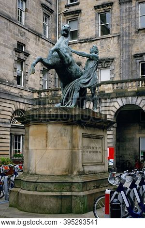Statue of Alexander and Bucephalus at the historic Edinburgh City Chambers
