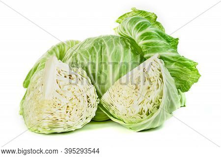 Cabbage Isolated On White Background ,green Leaves Pattern