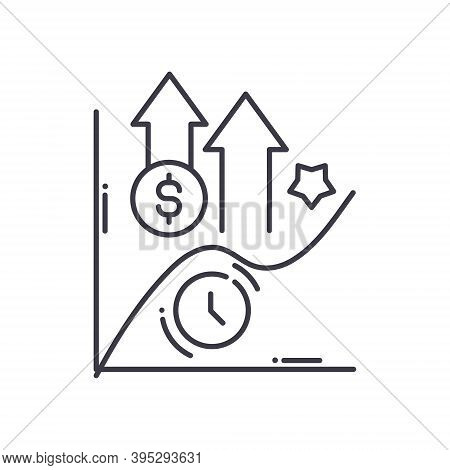 Yield Curve Icon, Linear Isolated Illustration, Thin Line Vector, Web Design Sign, Outline Concept S