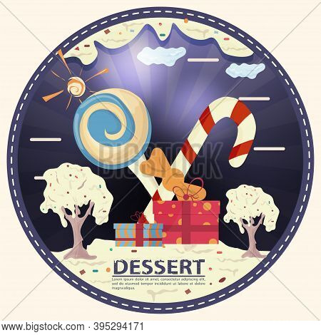 Candy And Gift Boxes In A Glade Of Icing, With The Inscription Dessert, Round Sticker Flat Design