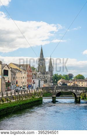 Saint Fin Barre's Cathedral And  South Gate Bridge On River Lee In Cork. Ireland.