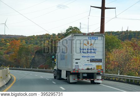 Clark Summit, Pennsylvania, U.s.a - October 20, 2020 - A Walmart Truck On Pa Turnpike Surrounded By