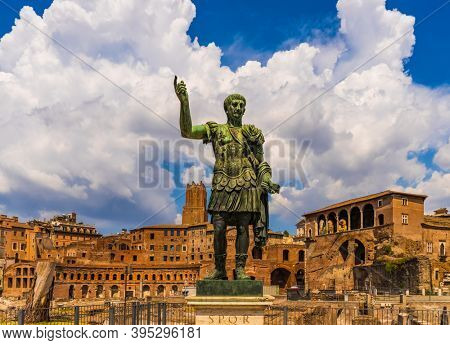 Rome , Italy - August 15, 2020 : Caesar Augustus statue first emperor at the Roman Forum Rome Lazio Italy landmark