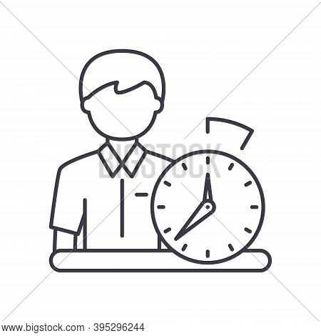 Working Time Icon, Linear Isolated Illustration, Thin Line Vector, Web Design Sign, Outline Concept