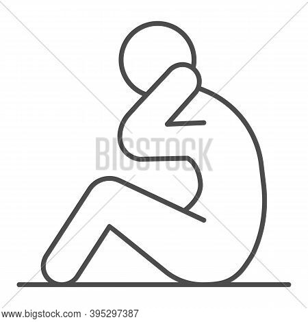 Abs Workout Thin Line Icon, Self Defense Concept, Fitness Sign On White Background, Sportsman Doing