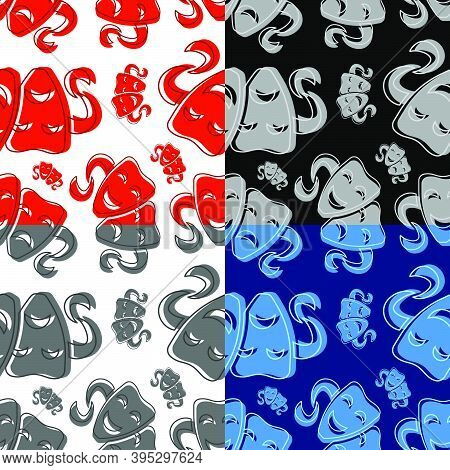 Set Of Seamless Patterns With Comedy And Tragic Theatrical Masks. Theatrical Premieres, Circus Poste