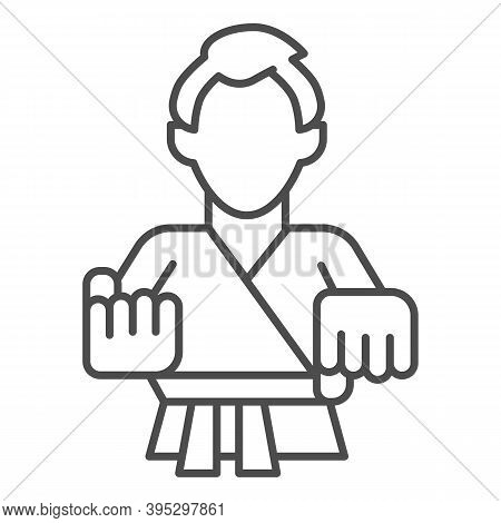 Karate Teacher Thin Line Icon, Self Defense Concept, Karate Kick Sign On White Background, Martial A