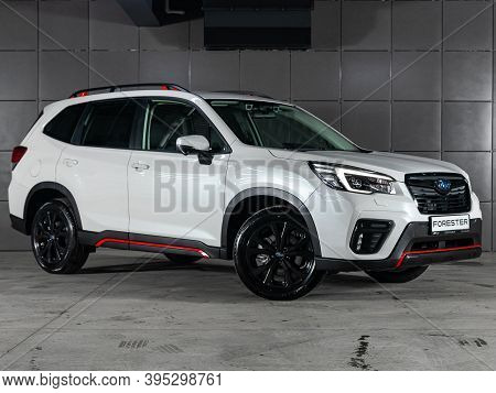 Novosibirsk, Russia - November 16, 2020: White Subaru Forester, Front View. Photography Of A Modern