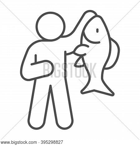 Fisherman With Big Fish Thin Line Icon, Fish Market Concept, Fishery Sign On White Background, Fishe
